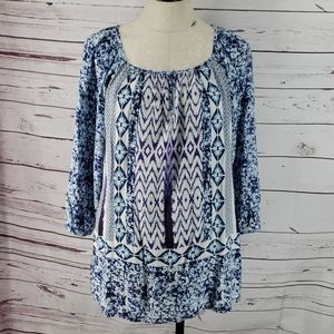 Anthropologie Grand & Greene Blue Floral Tunic Top